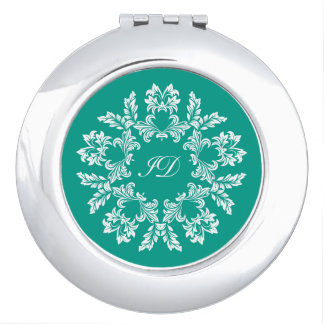 FLORAL | white and turquoise with monogram Travel Mirrors