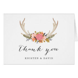 Floral White Antler Chic Boho Style Thank You Card