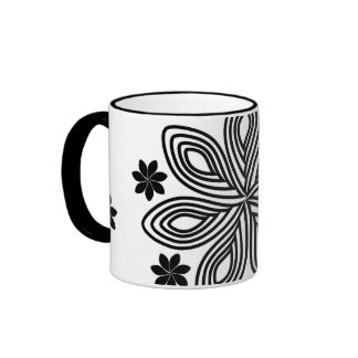 Floral white-black wraparound mug