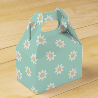 Floral White Daisies Mint Green Wedding Favour Box