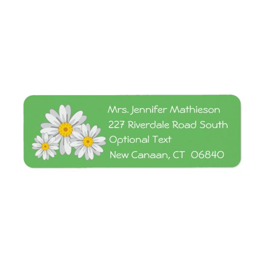Floral White Daisy Flower Green Return Address Return Address Label