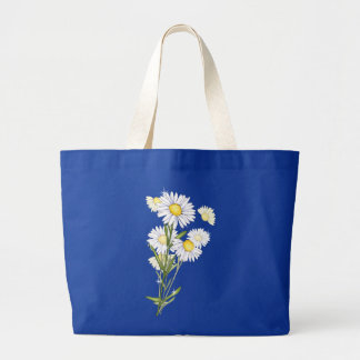 Floral White Daisy Flower Watercolor Daisies Large Tote Bag