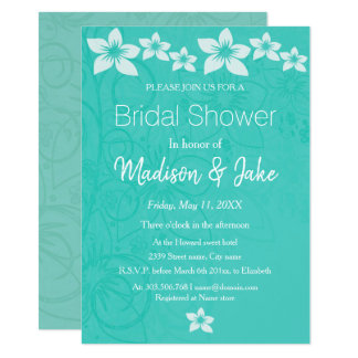 Floral white hibiscus flower bridal shower card