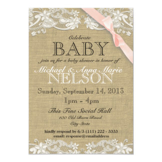 Floral White Lace and Bow Baby Shower Blush Pink 13 Cm X 18 Cm Invitation Card