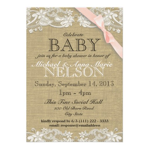 Floral White Lace and Bow Baby Shower Blush Pink Personalized Invites