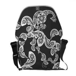 Floral White Peacock Vintage Pattern Vector Art Commuter Bags