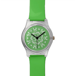 FLORAL  | White vintage holly pattern on green Wrist Watch