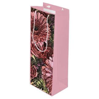 Floral wine gift bag