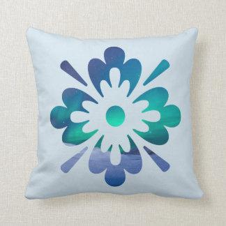 Floral Winter Aurora Northern Lights Design Pillow