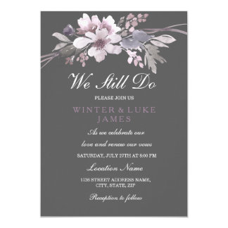 Floral Winter Gray Vow Renewal Anniversary Invite