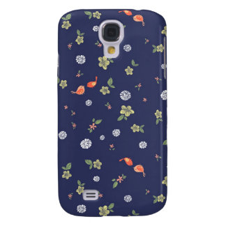 Floral with Birdies on Blue Galaxy S4 Cover