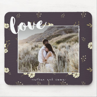Floral with Love Typography Photo Mouse Pad