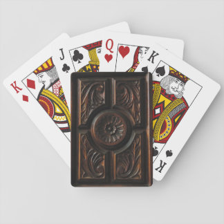 Floral Wood Carving Playing Cards