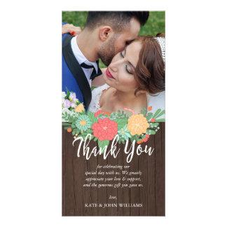 Floral & Wood Grain Wedding Photo Thank You Card