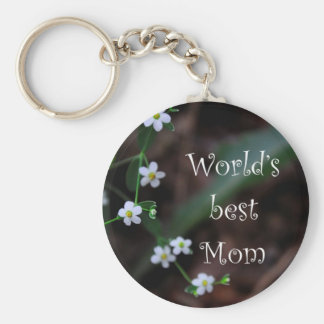 """Floral """"World's Best Mom"""" Key Chain Gift"""