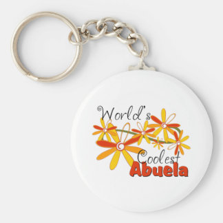 Floral World's Coolest Abuela Basic Round Button Key Ring