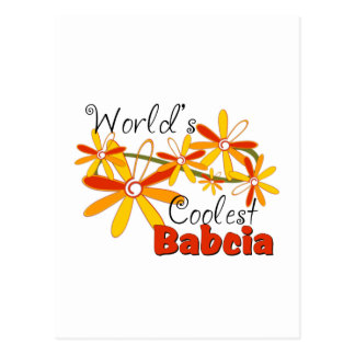 Floral World's Coolest Babcia Postcard