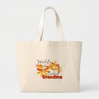Floral World's Coolest Grandma Jumbo Tote Bag