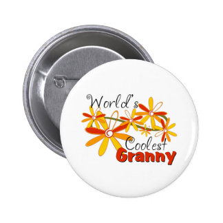 Floral World's Coolest Granny 6 Cm Round Badge