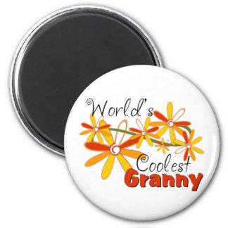 Floral World's Coolest Granny 6 Cm Round Magnet