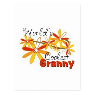 Floral World's Coolest Granny Postcard