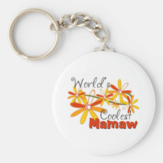 Floral World's Coolest Mamaw Basic Round Button Key Ring