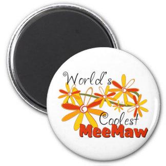 Floral World's Coolest Meemaw 6 Cm Round Magnet