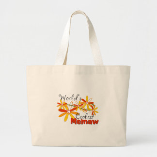 Floral World's Coolest Memaw Jumbo Tote Bag
