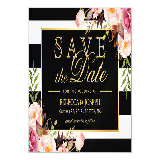 Floral Wrapped Black & White Striped Save the Date Magnetic Invitations