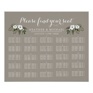 Floral Wreath - Alphabetical Seating Chart Poster