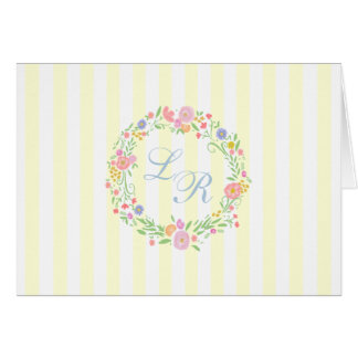 Floral Wreath and Monogram  Light Yellow Stripes Card