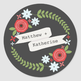 Floral Wreath & Banner Gray Sticker