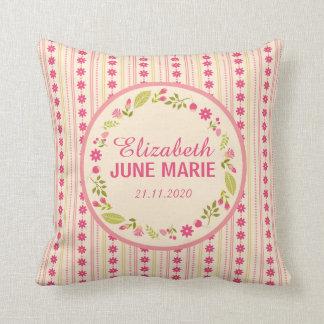 Floral Wreath Birth Announcement Pillow