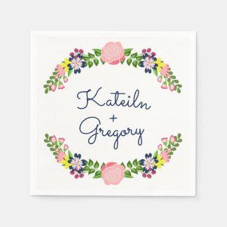 Floral Wreath Bridal Shower Napkins Disposable Serviette