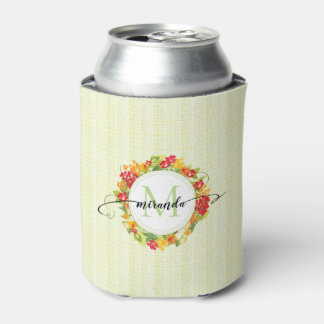 Floral Wreath Calligraphy Monogram Can Cooler
