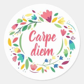 Floral Wreath Carpe Diem Stickers