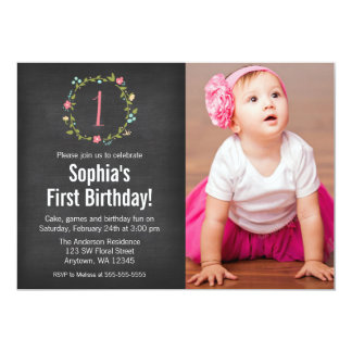 Floral Wreath Chalkboard Photo Girl 1st Birthday 13 Cm X 18 Cm Invitation Card