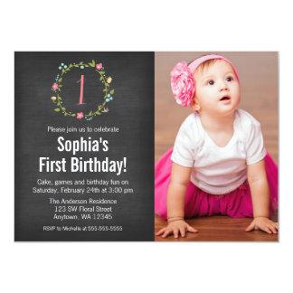 Floral Wreath Chalkboard Photo Girl 1st Birthday 11 Cm X 16 Cm Invitation Card