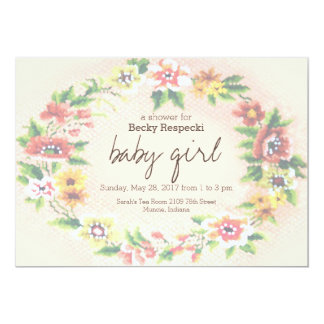 Floral Wreath Cross-stitch Baby Shower Invitation