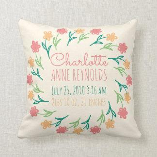Floral Wreath Custom Birth Announcement Cushion