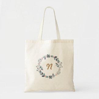 Floral wreath custom monogram tote bag