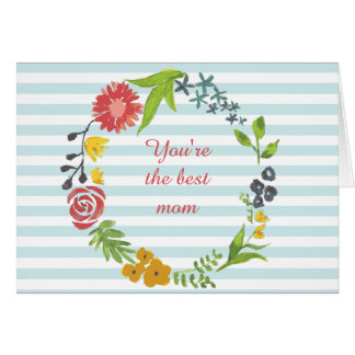 Floral Wreath Custom Mother's day Greeting Card