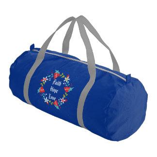 Floral Wreath Faith Hope Love Gym Bag