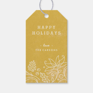 Floral Wreath Gift Tag - Gold