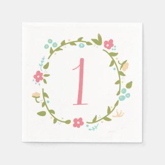 Floral Wreath Girl 1st Birthday Disposable Napkin