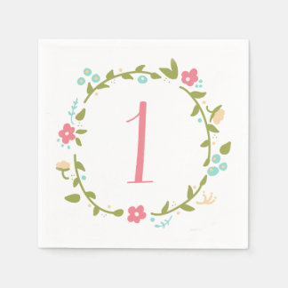 Floral Wreath Girl 1st Birthday Disposable Serviettes