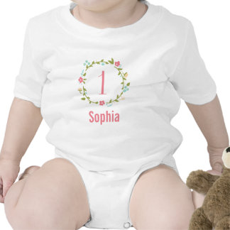 Floral Wreath Girl 1st Birthday Personalized Rompers