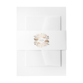 Floral Wreath Gold and White Elegant Wedding Invitation Belly Band