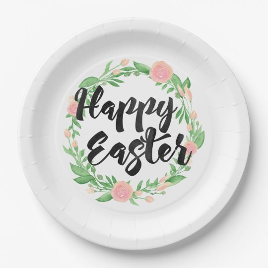 Floral Wreath Happy Easter 9 Inch Paper Plate