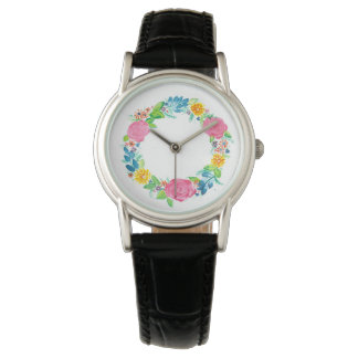 floral wreath ladies wrist watch
